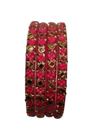 BANCIRC-08 Pink and Gold Stone and Bead Womens Bangles