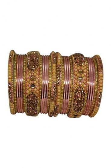 BANM40-02 Peach and Gold Stone and Bead Womens Bangles