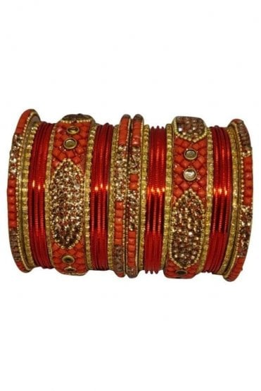 BANM40-04 Red and Gold Stone and Bead Womens Bangles