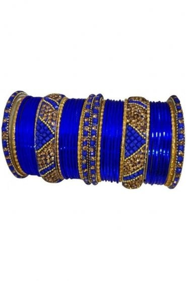 BANM63-01 Blue and Gold Stone and Bead Womens Bangles
