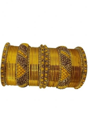 BANM63-05 Mustard Yellow and Gold Stone and Bead Womens Bangles