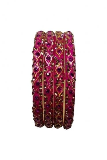 BANMURL-02 Pink and Gold Stone and Bead Womens Bangles