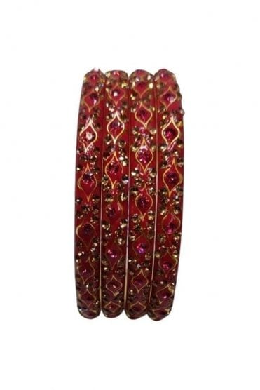BANMURL-05 Red and Gold Stone and Bead Womens Bangles