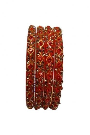 BANMURL-06 Rust Orange and Gold Stone and Bead Womens Bangles