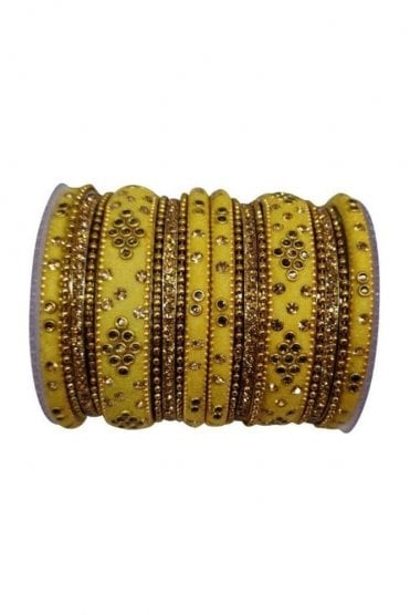 BANAS04-06 Beige and Gold Velvet and Stone Womens Bangles