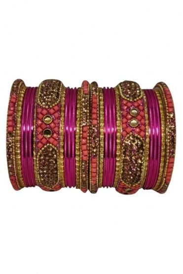 BANM40-01 Pink and Gold Stone and Bead Womens Bangles