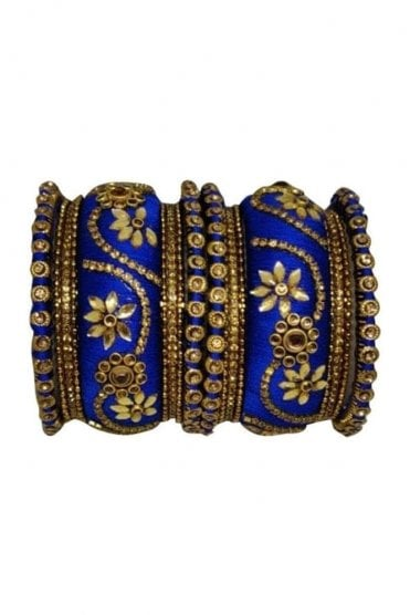 BAN1087-03 Royal Blue and Gold Thread and Stone Womens Bangles