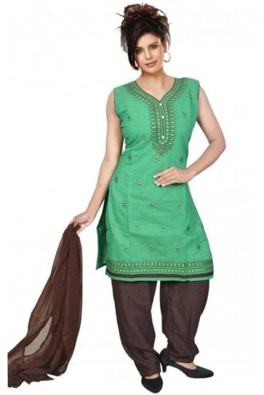 WCS19300 Green and Brown Designer Churidar Salwar Kameez