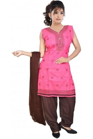 WCS19302 Pink and Brown Designer Churidar Salwar Kameez