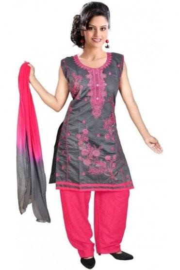 WCS19304 Grey and Pink Designer Churidar Salwar Kameez