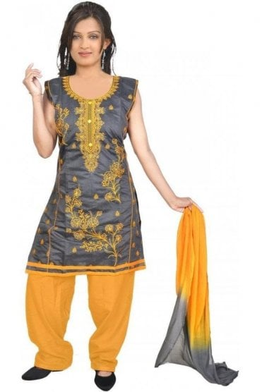 WCS19306 Grey and Yellow Designer Churidar Salwar Kameez