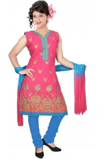 WCS19311 Pink and Blue Designer Churidar Salwar Kameez