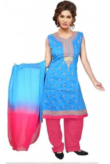 WCS19312 Blue and Pink Designer Churidar Salwar Kameez