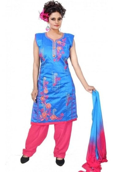 WCS19319 Blue and Pink Designer Churidar Salwar Kameez