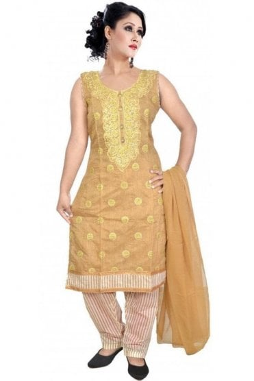 WCS19320 Beige and Gold Designer Churidar Salwar Kameez