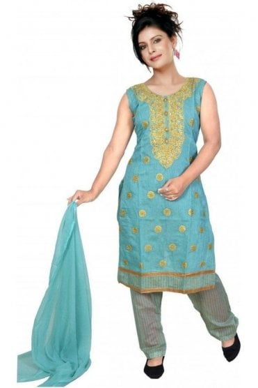 WCS19321 Blue and Gold Designer Churidar Salwar Kameez