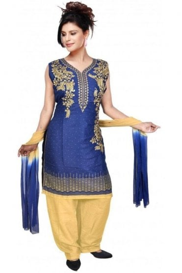 WCS19323 Blue and Cream Designer Churidar Salwar Kameez