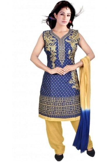 WCS19325 Blue and Cream Designer Churidar Salwar Kameez