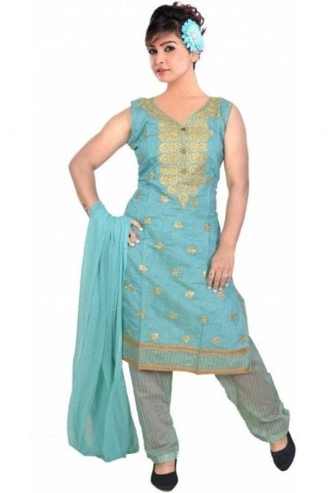 WCS19329 Blue and Gold Designer Churidar Salwar Kameez