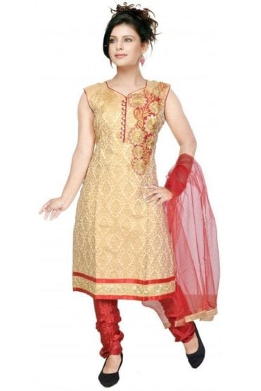 WCS19331 Gold and Maroon Designer Churidar Salwar Kameez