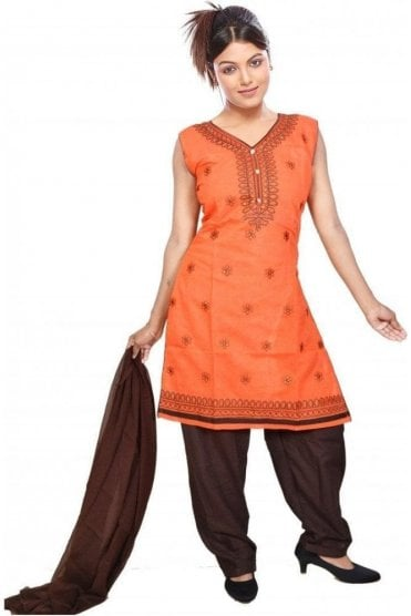 WCS19301 Orange  and Brown Designer Churidar Salwar Kameez