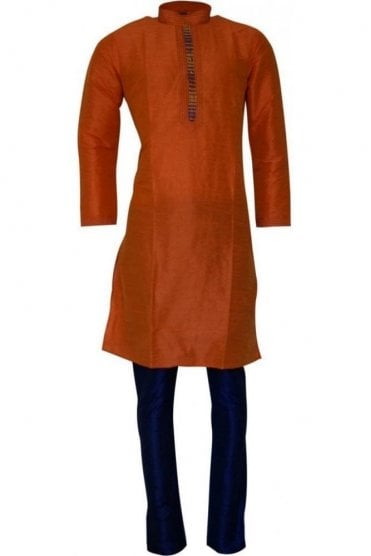 MPK19203 Orange and Blue Men's Kurta Pyjama