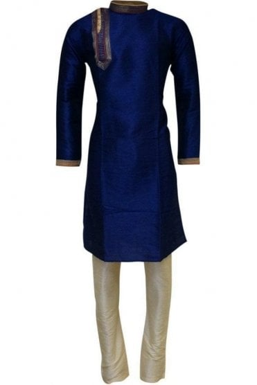MPK19226 Navy Blue and Gold Men's Kurta Pyjama