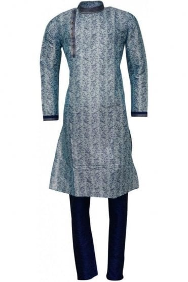 MPK19227 Sky Blue and Blue Men's Kurta Pyjama