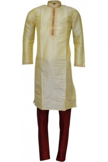 MPK19233 Yellow and Red Men's Kurta Pyjama
