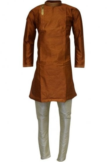 MPK19234 Brown  and Gold Men's Kurta Pyjama