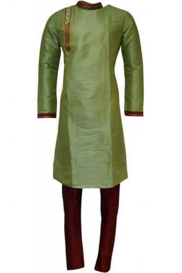 MPK19235 Green and Red Men's Kurta Pyjama