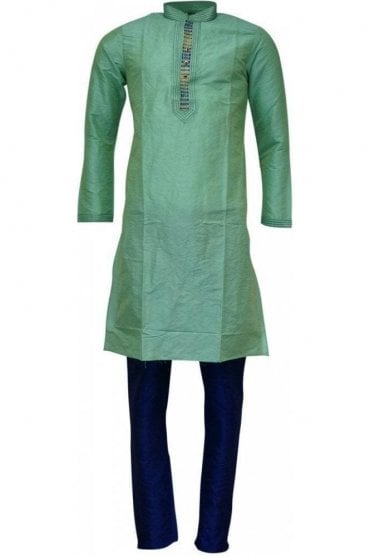 MPK19242 Green and Blue Men's Kurta Pyjama