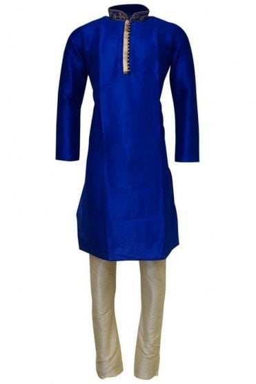 MPK19240 Blue and Cream Men's Kurta Pyjama