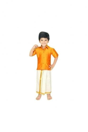 BVS2000 Orange and Cream Boys Veshti Sattai
