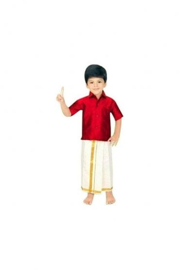 BVS2004 Maroon and Cream Boys Veshti Sattai