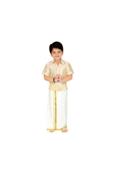 BVS2006 Butter and Gold Boys Veshti Sattai