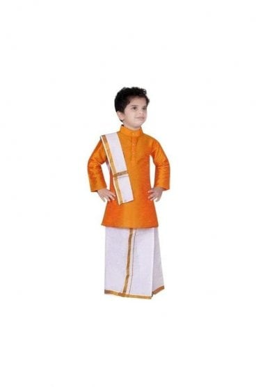 BVS3001 Orange and Cream Boys Veshti Sattai Angavastram Set