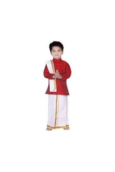 BVS3000 Maroon and Cream Boys Veshti Sattai Angavastram Set