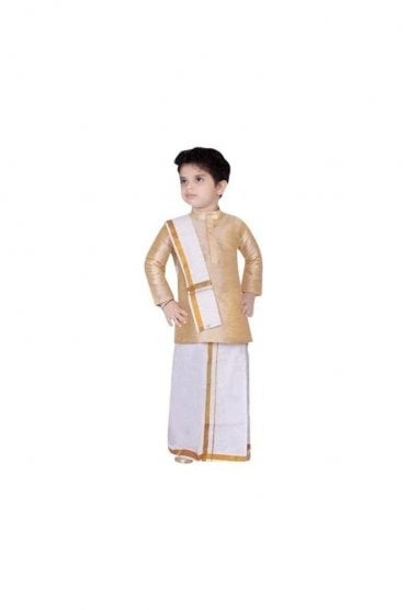 BVS3002 Butter and Gold Boys Veshti Sattai Angavastram Set