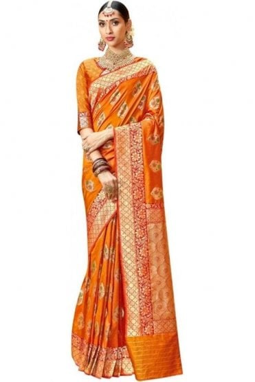 BEN19037-221B Mustard and Gold Benarasi Art Silk Saree