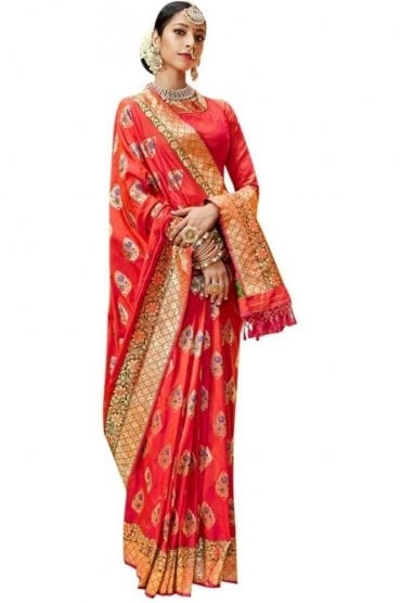 BEN19039-221D Salmon Pink and Gold Benarasi Art Silk Saree