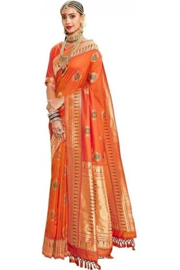 BEN19044-222C Rust Orange and Gold Benarasi Art Silk Saree
