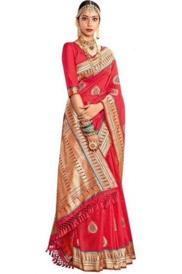 BEN19045-222D Ruby Pink and Gold Benarasi Art Silk Saree
