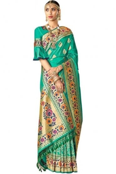 BEN19056-224C Jade Green  and Gold Benarasi Art Silk Saree