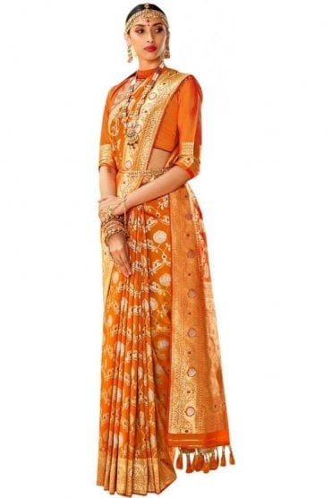 BEN19061-225B Mustard and Gold Benarasi Art Silk Saree