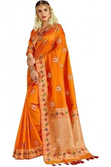 BEN19066-231A Mustard and Gold Benarasi Art Silk Saree