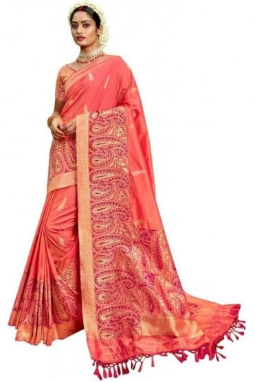 BEN19078-233A Coral Pink and Gold Benarasi Art Silk Saree