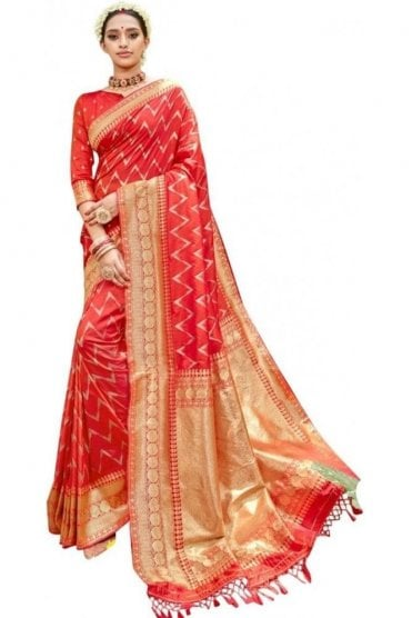 BEN19084-234A Coral Pink and Gold Benarasi Art Silk Saree