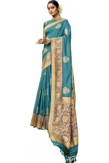 BEN19091-235B Blue  and Navy Benarasi Art Silk Saree