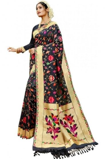 BEN19103-237B Black and Gold Benarasi Art Silk Saree
